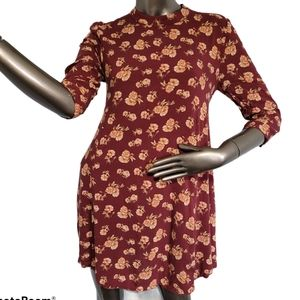 Forever 21 Floral dark red mini dress Size Medium